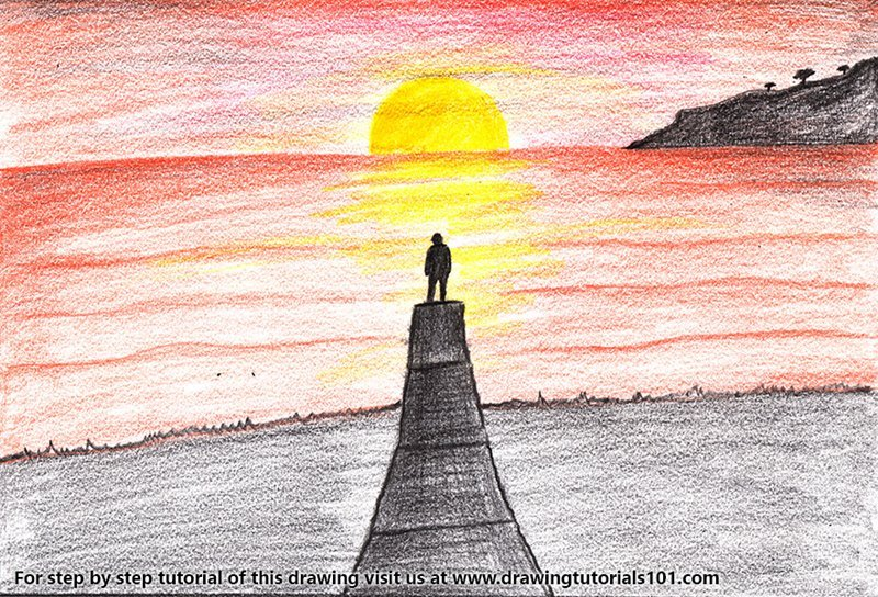 Learn How To Draw Sunset Scenery Sunsets Step By Step Drawing