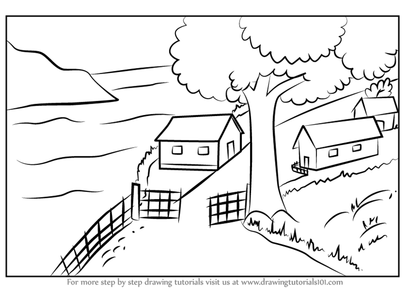 Learn How To Draw A Beautiful Village Scenery Villages Step By