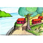 How to Draw A Beautiful Village Scenery
