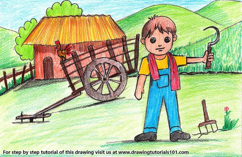 Farmer Village Scene Color Pencil Drawing