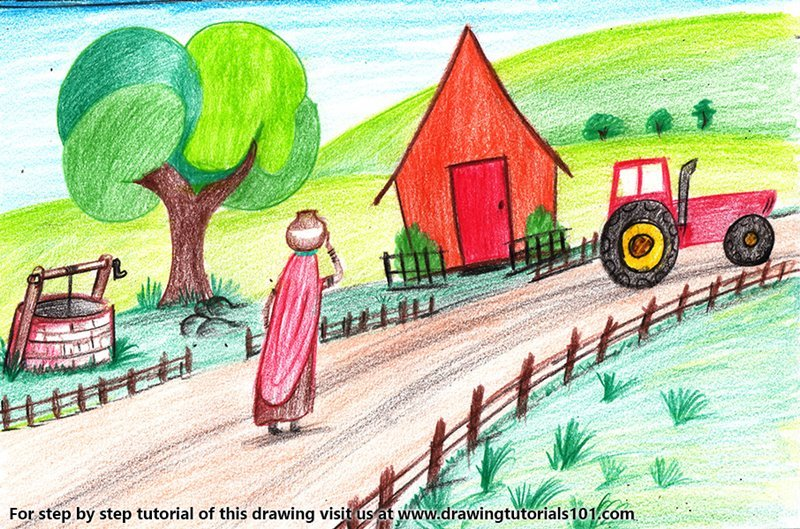 Indian Village Life Color Pencil Drawing