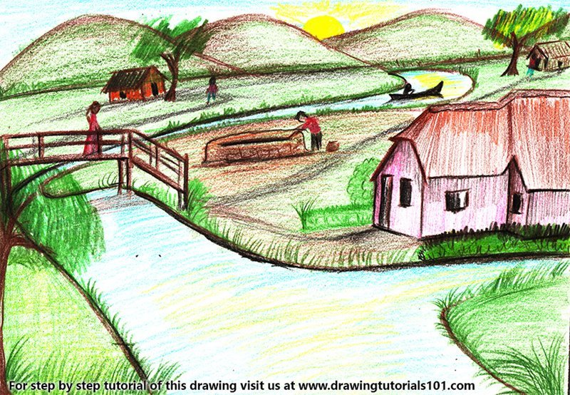 Learn How To Draw An Indian Village Villages Step By Step Drawing Tutorials