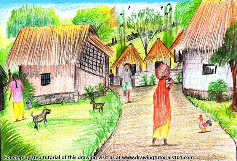 Village Scene Drawing Learn How to Dr...
