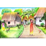 How to Draw Village Scene