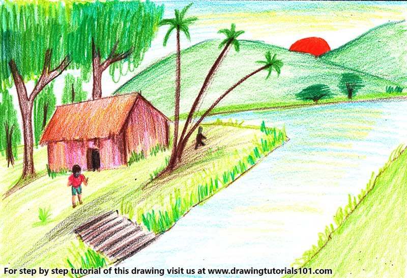 Learn How To Draw Village With Lake Sunset Scene Villages Step By Step Drawing Tutorials