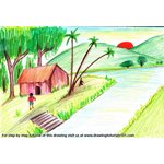 How to Draw Village with Lake Sunset Scene