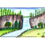 How to Draw a Beautiful Waterfall