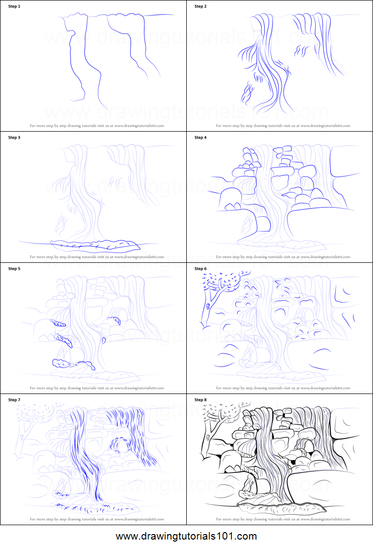 Step by step drawing tutorial on how to draw a rocky waterfall