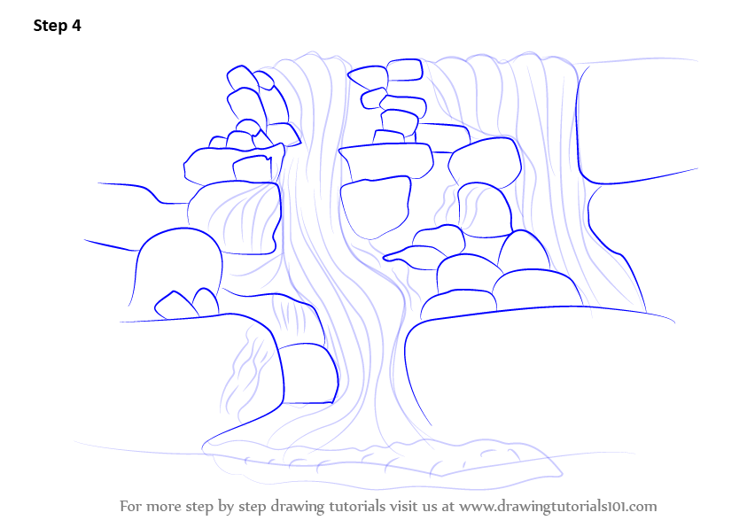 learn how to draw a rocky waterfall waterfalls step by
