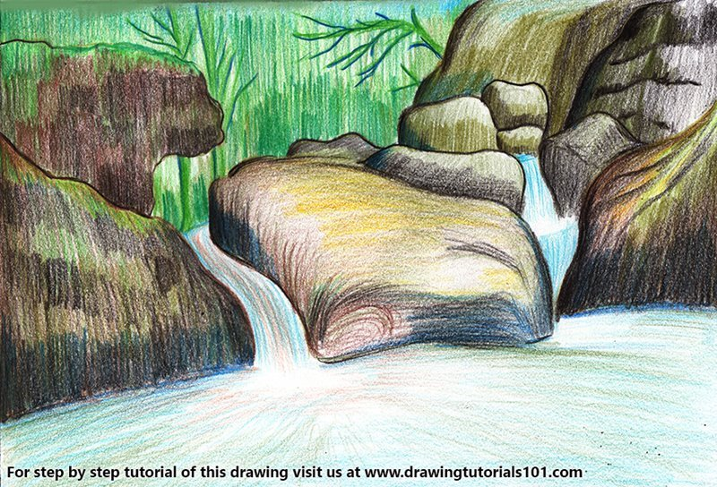 How to draw a waterfall scenery