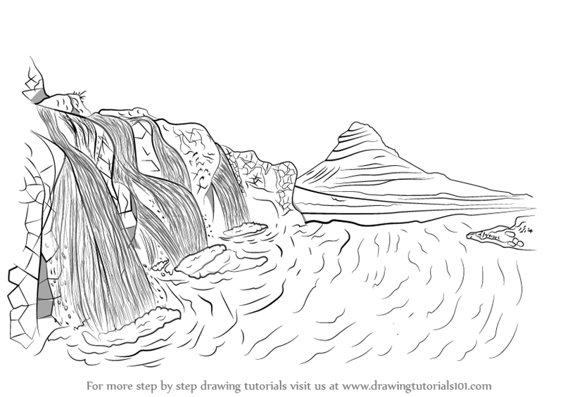 How to draw waterfall scenery