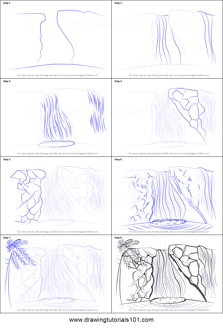 how to draw a waterfall printable step by step drawing