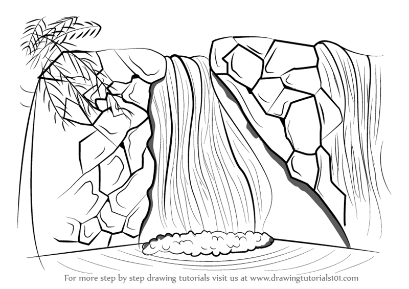 Waterfalls coloring pages waterfalls best free coloring for Waterfall coloring page