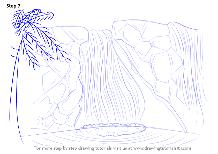 learn how to draw a waterfall waterfalls step by step
