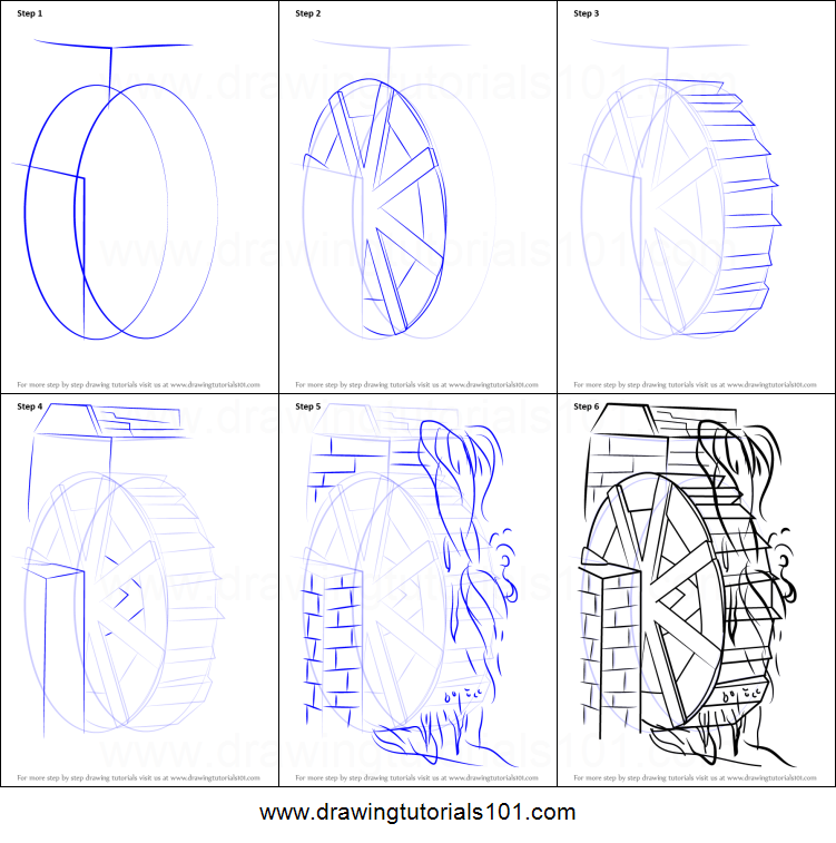 How To Draw A Water Mill Printable Step By Step Drawing