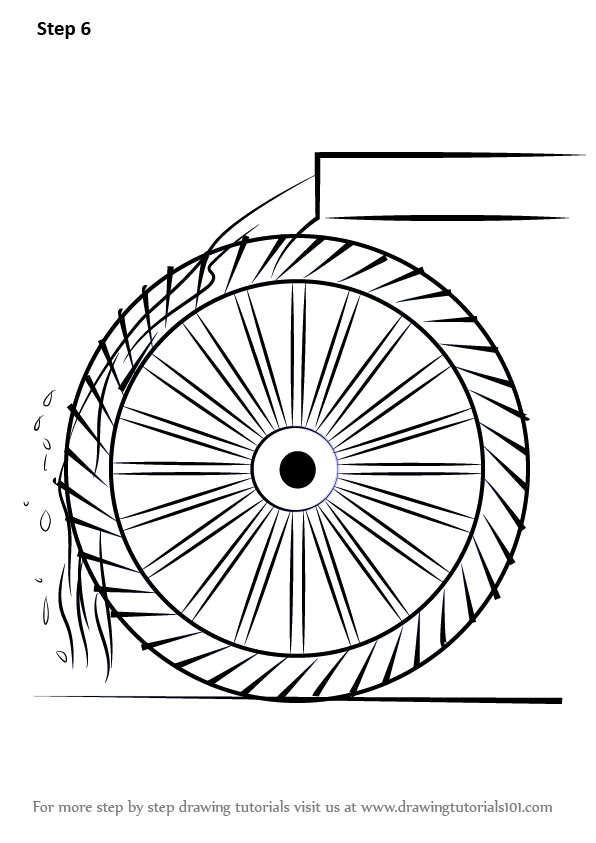 Learn How To Draw A Water Wheel For Kids Watermills Step