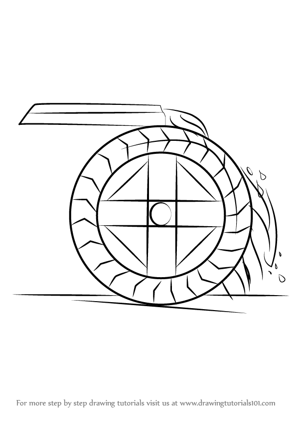 Learn How to Draw a Water Wheel