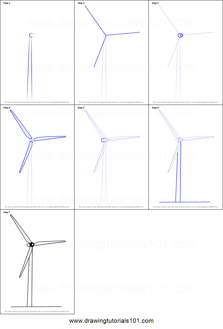 How to Draw an Electric Windmill printable step by step drawing