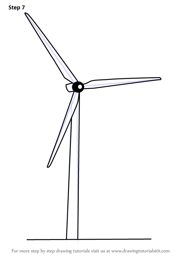 Line Drawing Windmill : Learn how to draw an electric windmill windmills step by