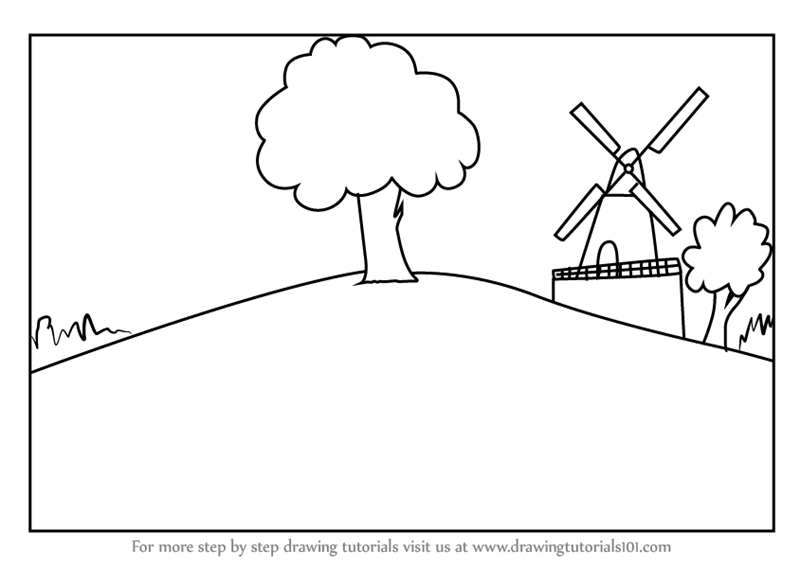 Learn How To Draw A Farm Windmill Landscape Windmills Step By Drawing Tutorials