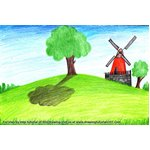 How to Draw a Farm Windmill Landscape