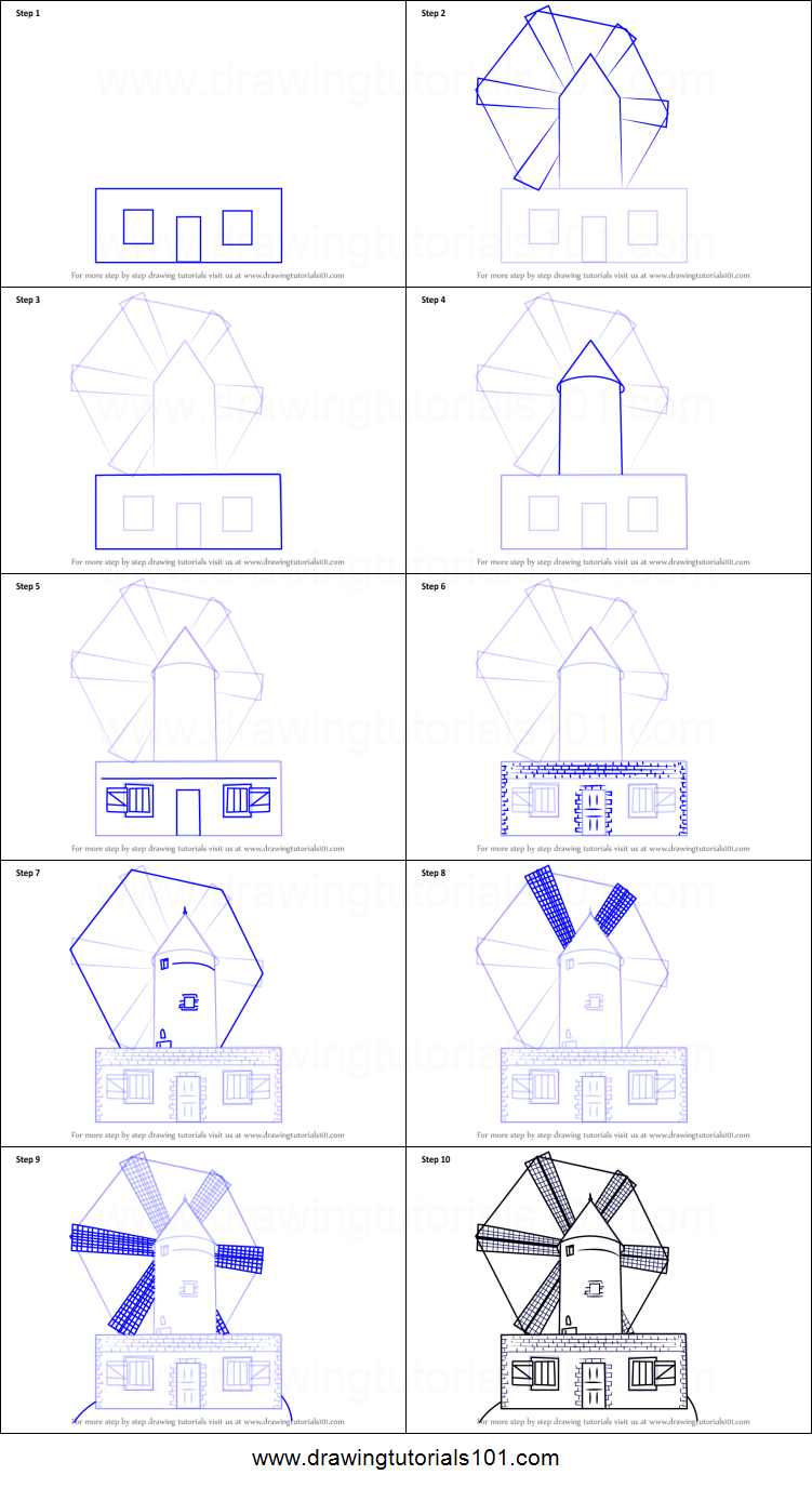 how to draw a farm windmill printable step by step drawing sheet drawingtutorials101com