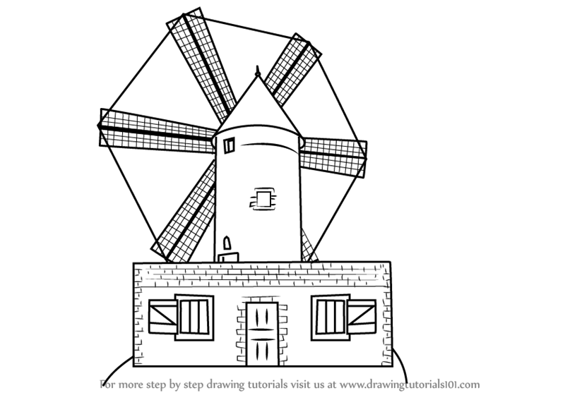 Learn How To Draw A Farm Windmill Windmills Step By Drawing Tutorials
