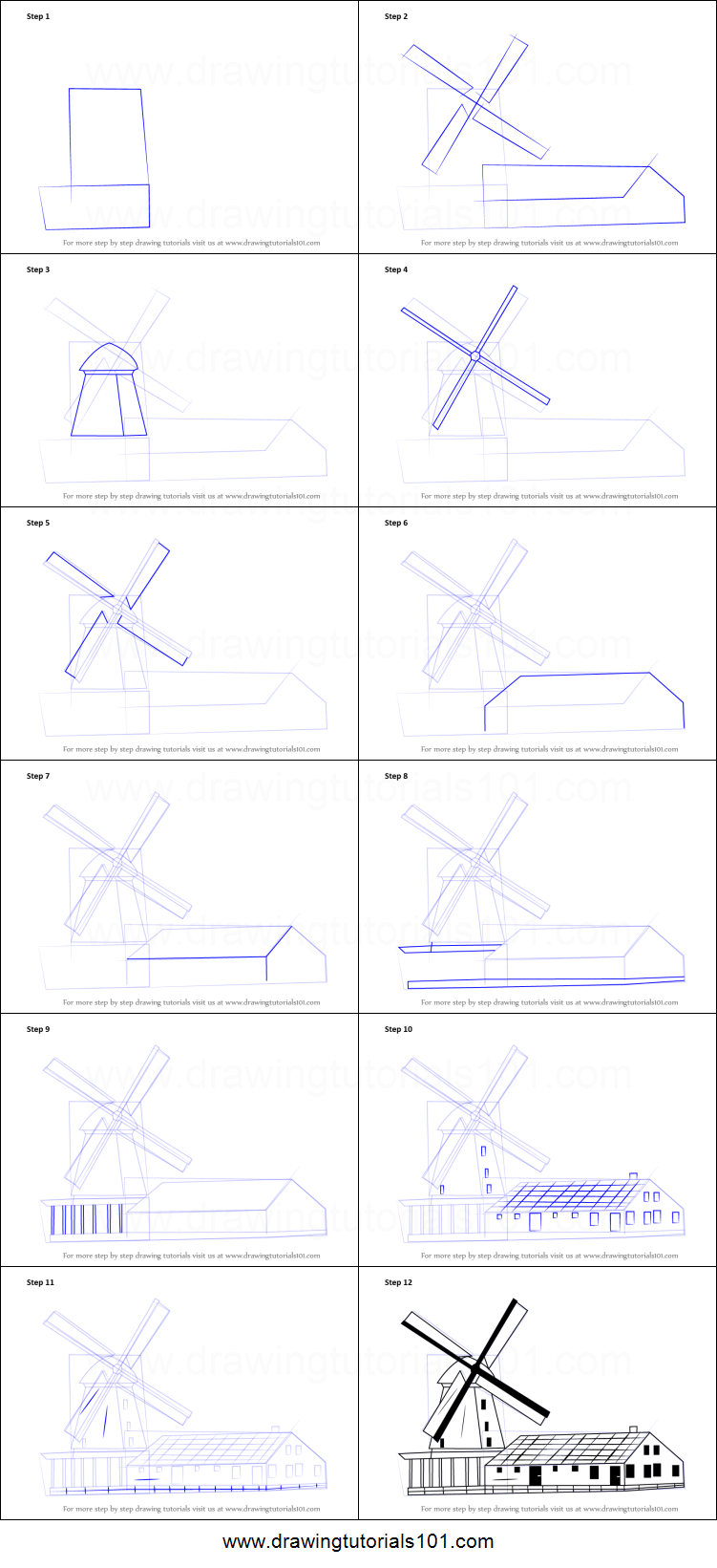 Step by step how to draw a windmill drawingtutorials101com for How to draw a two story house step by step