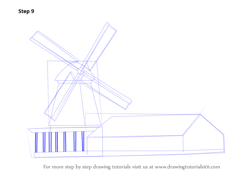 how to draw a windmill step by step for kids