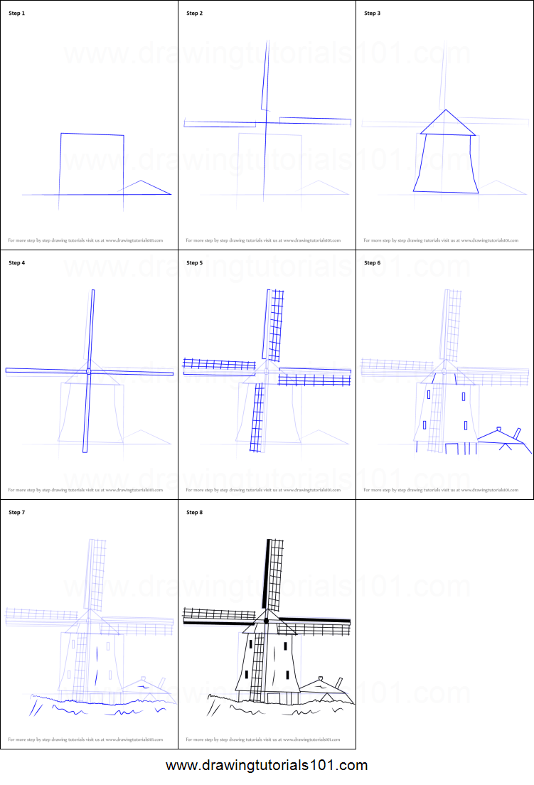 How to Draw a Windmill printable step by step drawing sheet