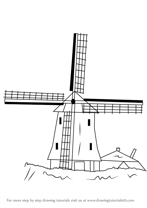 step by step how to draw a windmill drawingtutorials101com