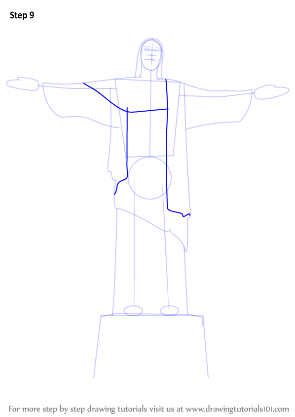 Step By Step How To Draw Christ The Redeemer