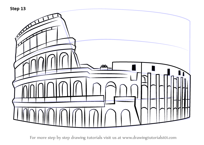 Learn How To Draw The Colosseum Wonders Of World