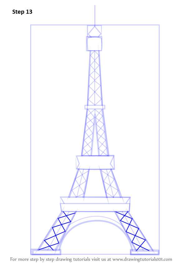 draw the square shapes at the base of the tower