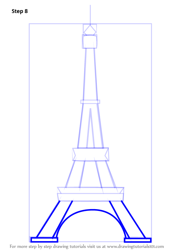 Steps To Eiffel Tower Top : Learn how to draw an eiffel tower wonders of the world