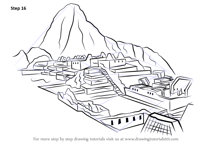 Architecture Drawing Tutorial learn how to draw machu picchu (wonders of the world) stepstep