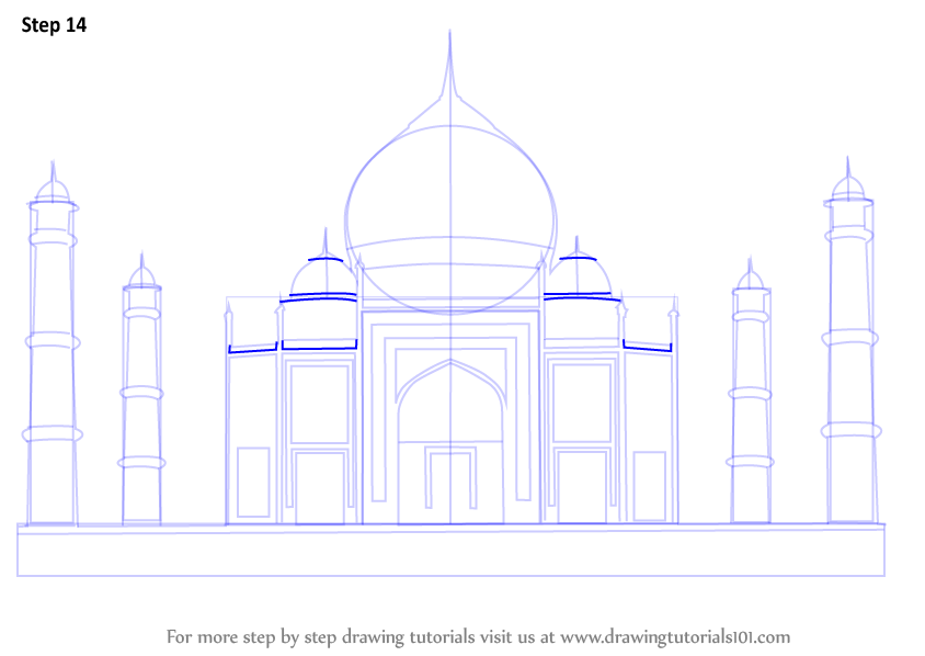 Learn how to draw taj mahal wonders of the world step by step drawing tutorials