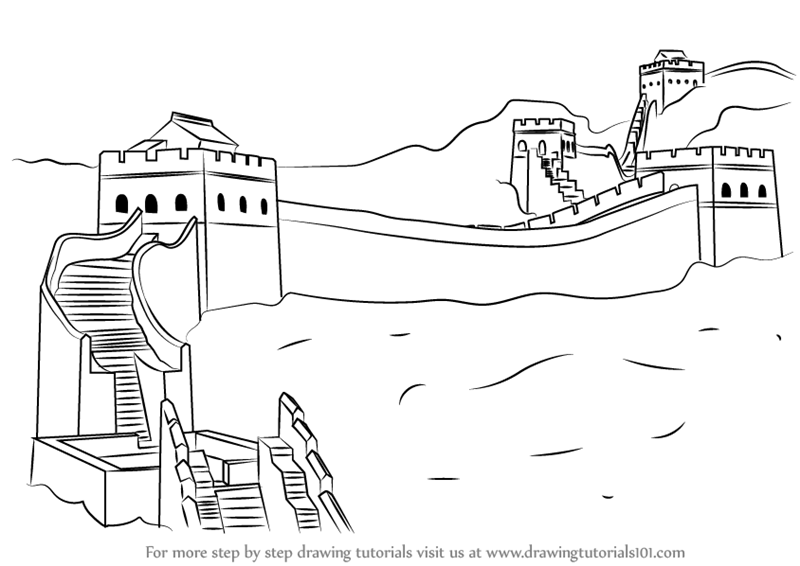 Learn how to draw great wall of china world heritage for Wall drawings simple