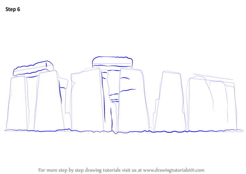 Learn how to draw stonehenge world heritage sites step for Step by step drawing websites