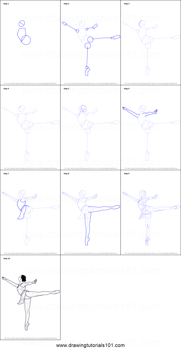 How to draw a ballet dancer printable step by step drawing for Ballerina drawing step by step