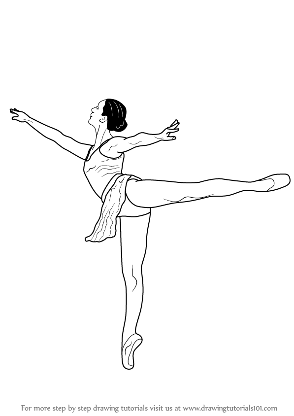 Ballet dancing girl drawing step by