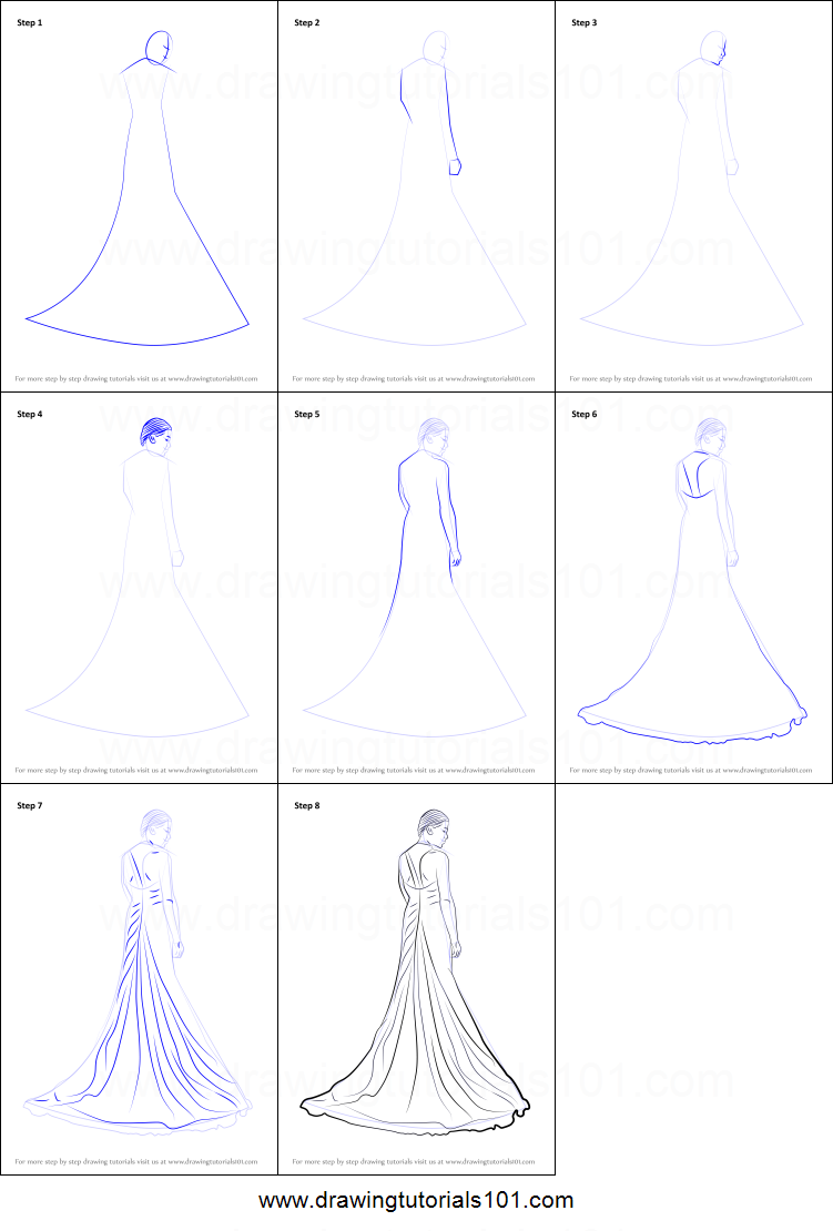 How to draw a bridal gown printable step by step drawing for How to draw a wedding dress