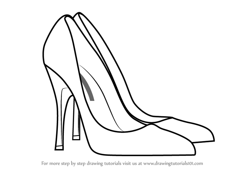Learn How to Draw High Heeled Shoe (Fashion) Step by Step