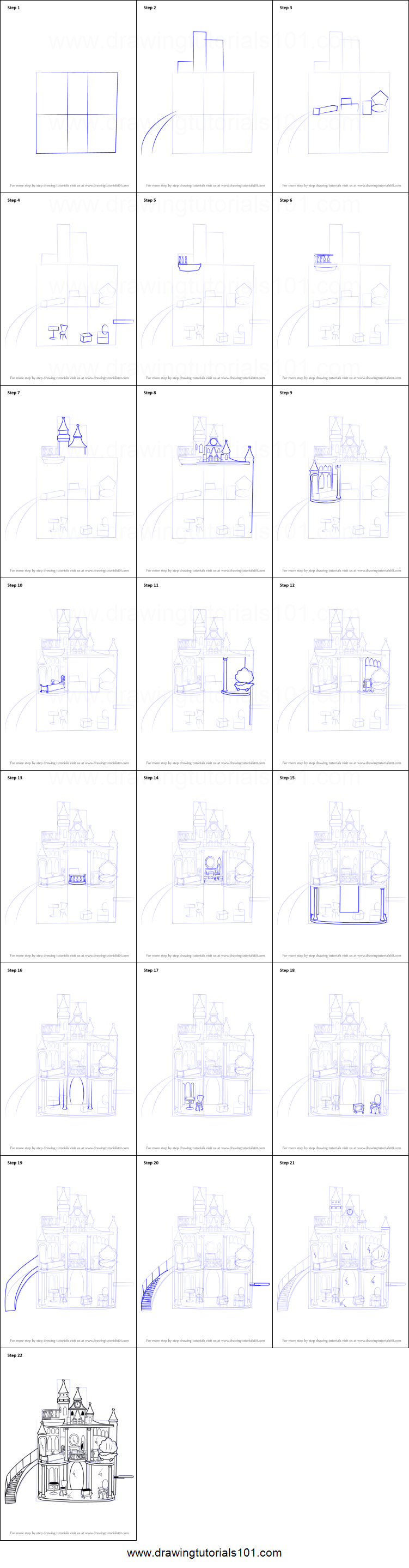 How To Draw Barbie Doll Castle Printable Step By