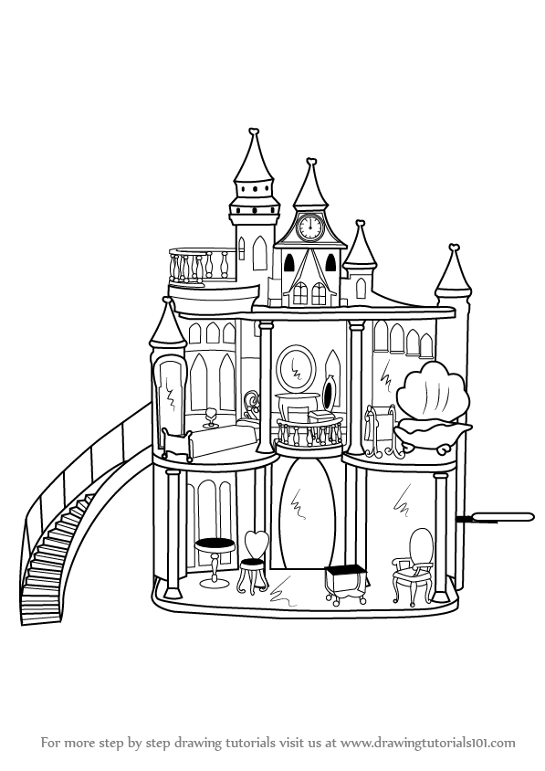 Learn How To Draw Barbie Doll Castle Step By Drawing Tutorials