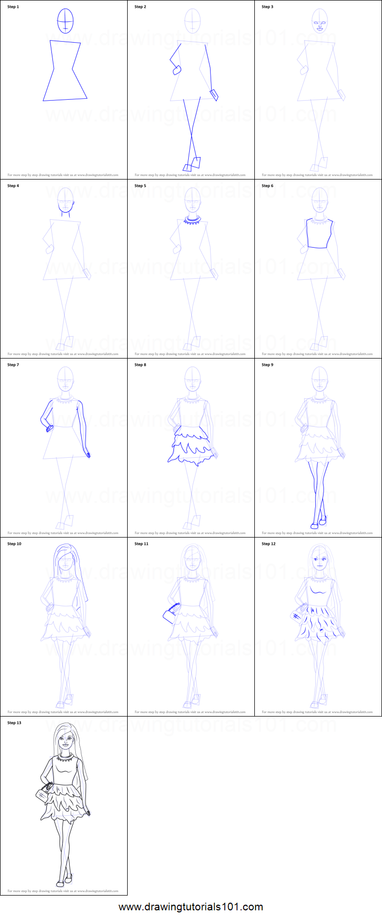 How To Draw Barbie Doll In Skirt Printable Step By Step