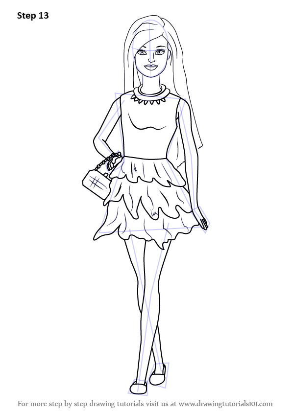 Learn How To Draw Barbie Doll In Skirt Barbie Step By
