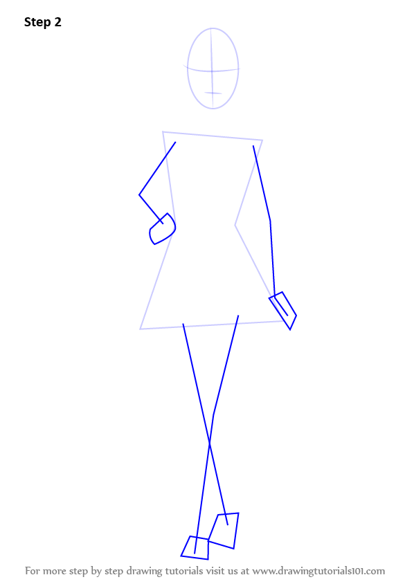 Step By Step How To Draw Barbie Doll In Skirt