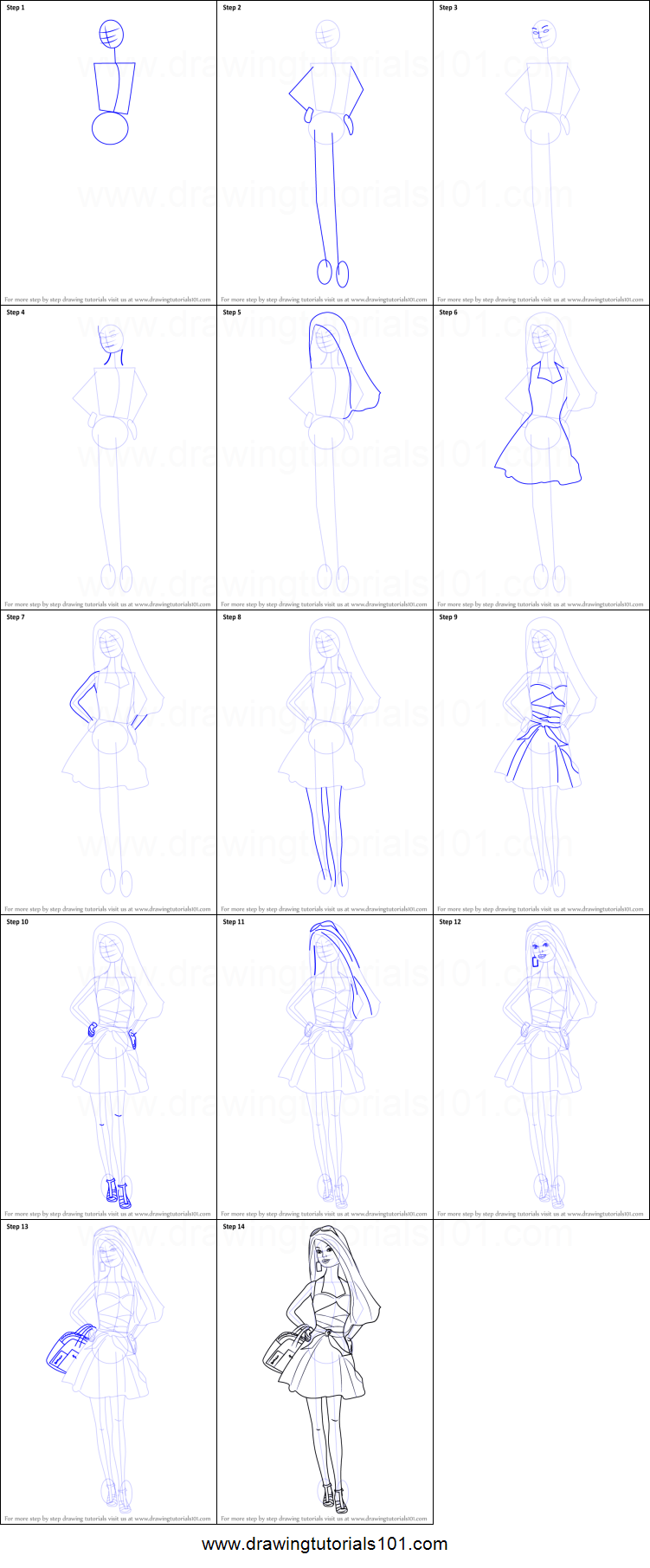 How To Draw A Barbie Doll Printable Step By Step Drawing Sheet  DrawingTutorials101.com