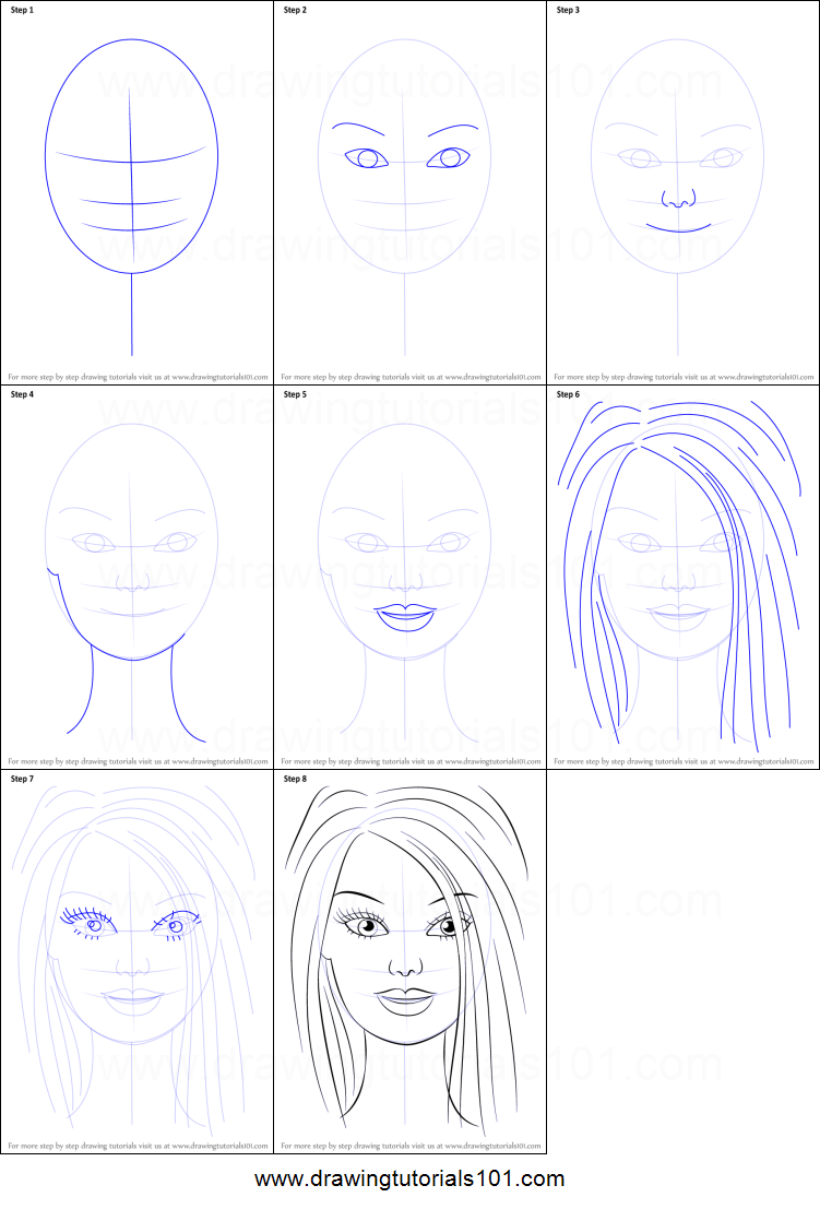 How To Draw Barbie Face Printable Step By Step Drawing Sheet  DrawingTutorials101.com